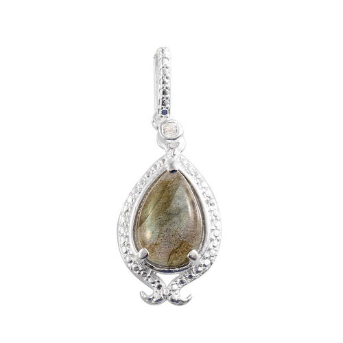 Labradorite (Pear 3.00 Ct), White Topaz Pendant in Sterling Silver 3.050 Ct.