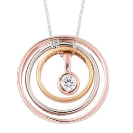 J Francis - Platinum, Yellow Gold and Rose Gold Overlay Sterling Silver (Rnd) Concentric Circle Dynamic Pendant with Chain Made with SWAROVSKI ZIRCONIA