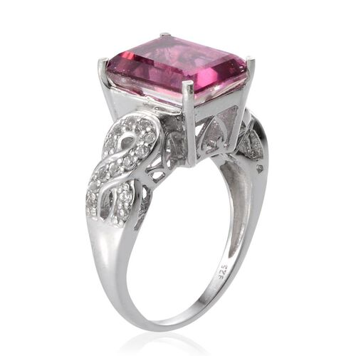 Radiant Orchid Quartz (Oct 4.75 Ct), White Topaz Ring in Platinum Overlay Sterling Silver 5.000 Ct.