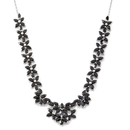 Boi Ploi Black Spinel (Mrq) Floral Necklace (Size 18) in Rhodium Plated Sterling Silver 17.000 Ct.