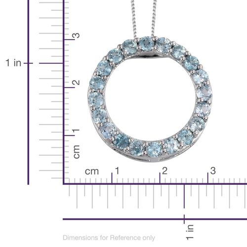 Natural Cambodian Blue Zircon (Rnd) Circle of Life Pendant With Chain in Platinum Overlay Sterling Silver 3.500 Ct.