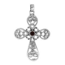 Easter Special- Mozambique Garnet (Rnd) Cross Pendant in Sterling Silver, Silver wt. 3.50 Gms.
