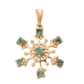 Snowflake 1 Carat Kagem Zambian Emerald Silver Pendant in Gold Overlay.