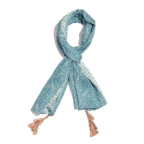 Designer Inspired - 100% Cotton Blue and White Colour Printed Scarf with Tassels (Size 200X180 Cm)