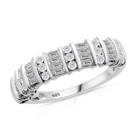 Designer Inspired - Diamond (Bgt and Rnd) Ring in Platinum Overlay Sterling Silver 0.750 Ct.