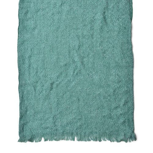 Green Colour Knitted Scarf with Fringes (Size 190X55 Cm)