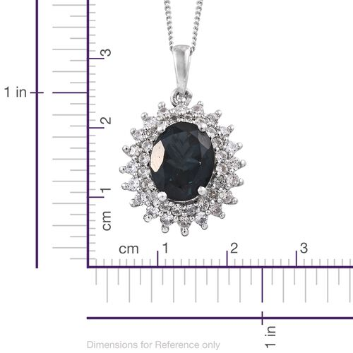 Marambaia London Blue Topaz (Ovl 2.80 Ct), Natural Cambodian Zircon Pendant with Chain in Platinum Overlay Sterling Silver 3.500 Ct.