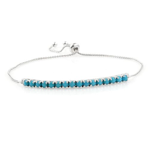 Arizona Sleeping Beauty Turquoise (Rnd) Adjustable Bracelet (Size 6.5 to 8.5) in Platinum Overlay Sterling Silver