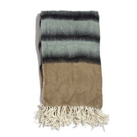 Mohair Chocolate, Grey and Multi Colour Stripe Pattern Plaid (Size 150x125 Cm)
