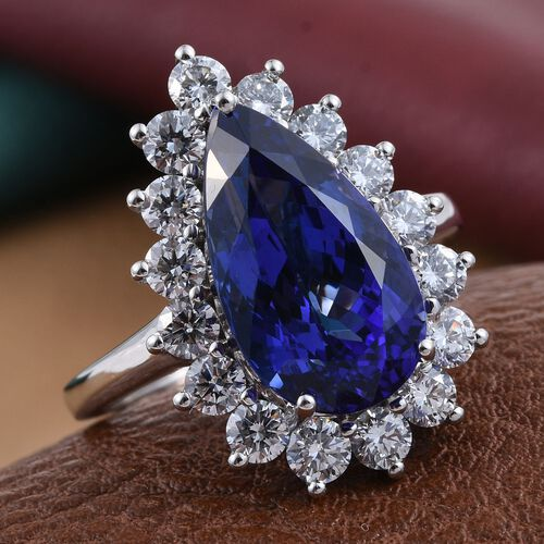 RHAPSODY 950 Platinum AAAA Tanzanite (Pear 6.50 Ct), Diamond (VS E-F) Ring 7.830 Ct.