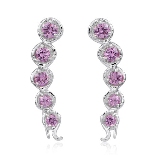 Pink Sapphire (Rnd) Climber Earrings in Rhodium Plated Sterling Silver 1.500 Ct.