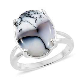 Dendritic Agate (Ovl) Solitaire Ring in Sterling Silver 6.000 Ct. Silver wt 3.78 Gms.