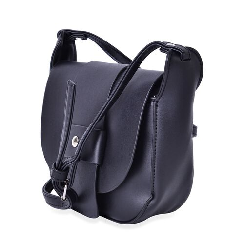Black Colour Crossbody Bag with Magnetic Closure Flap and Adjustable Shoulder Strap (Size 19x16x6 Cm)