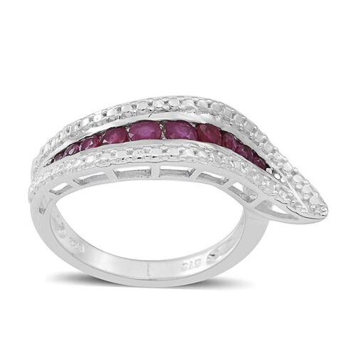 Burmese Ruby (Rnd) Ring in Rhodium Plated Sterling Silver 0.750 Ct.