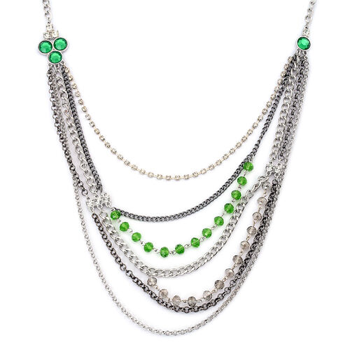 Simulated Peridot, Simulated Grey Moonstone, White Austrian Crystal and Simulated Stone Multi Strand Necklace (Size 27 with 3 inch Extender) in Silver Tone