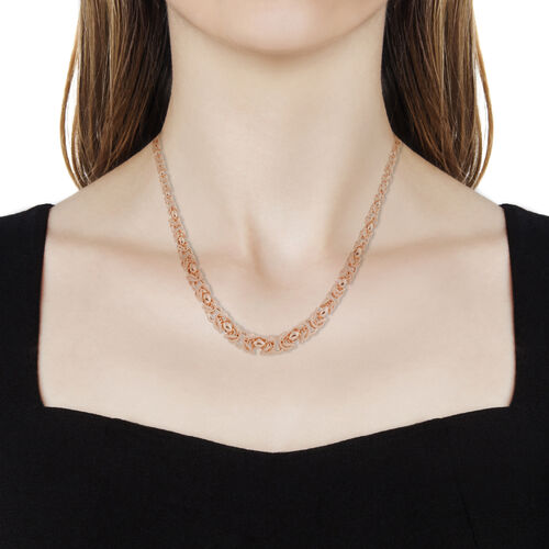 Vicenza Collection- Italian Hand Made Byzantine Link Rose Gold Overlay Sterling Silver Necklace (Size 18 with 2 inch Extender), Silver wt. 49.70 Gms