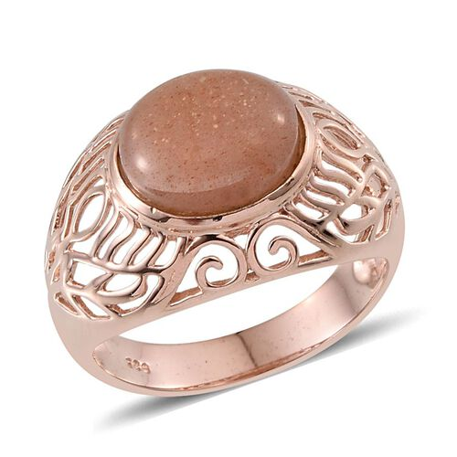 Morogoro Peach Sunstone (Ovl) Solitaire Ring in Rose Gold Overlay Sterling Silver 4.750 Ct. Silver wt. 4.46 Gms.