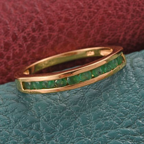 Kagem Zambian Emerald (Rnd) Half Eternity Band Ring in 14K Gold Overlay Sterling Silver 0.500 Ct.