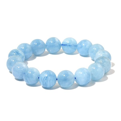 Rare AAA Espirito Santo Aquamarine Stretchable Ball Beaded Bracelet 250.00 Ct.