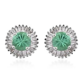 9K White Gold 1 Carat AA Boyaca Colombian Emerald Halo Stud Diamond Earrings (with Push Back)