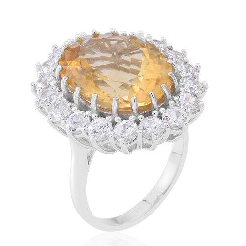 Collectors Edition - Rare AAA Uruguay Citrine (Ovl 16.00 Ct), Natural White Cambodian Zircon Ring in Rhodium Plated Sterling Silver 22.500 Ct.