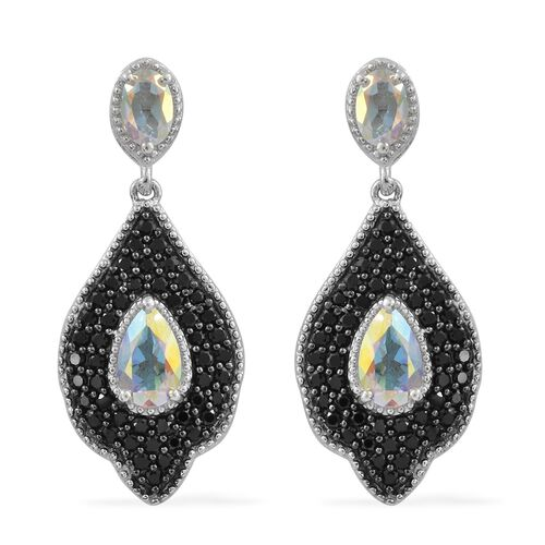 Mercury Mystic Topaz (Pear), Boi Ploi Black Spinel Earrings (with Push Back) in Platinum Overlay Sterling Silver 4.750 Ct. Silver wt 7.53 Gms. Number of Gemstone 100
