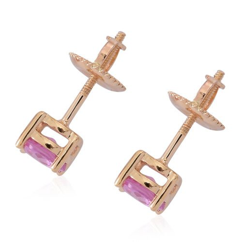 ILIANA 18K Yellow Gold AAA Pink Sapphire (Rnd) Stud Earrings (with Screw Back) 1.000 Ct.