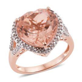 Galileia Blush Pink Quartz (Hrt), Diamond Heart Ring in Rose Gold Overlay Sterling Silver 9.000 Ct.