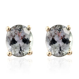 9K Yellow Gold 1.50 Carat 1.50 Carat AA Green Tanzanite (Ovl) Stud Earrings (with Push Back)