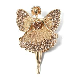 AAA  Austrian Champagne Color Crystal (Rnd) Angel Brooch in Gold Plated.
