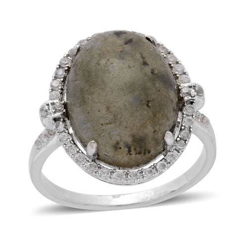 Labradorite (Ovl 7.50 Ct), Simulated White Diamond Ring in Silver Tone 10.600 Ct.