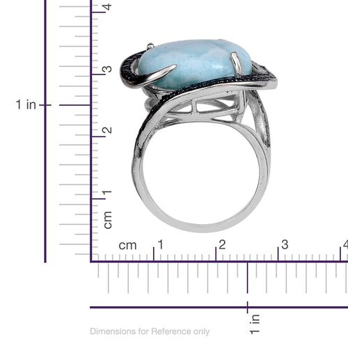 Larimar (Ovl 12.00 Ct), Blue Diamond Ring in Platinum Overlay Sterling Silver 12.020 Ct.