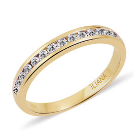 ILIANA 18K Yellow Gold 0.25 Ct Diamond Half Eternity Band Ring IGI Certified (SI/G-H)