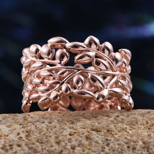 Designer Inspired Rose Gold Overlay Sterling Silver Olive Leaves Ring, Silver wt 5.00 Gms.