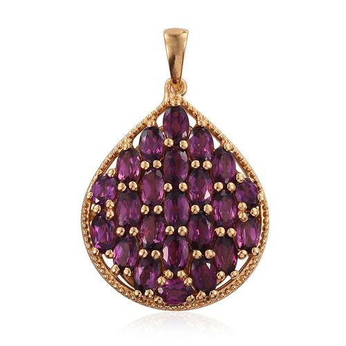 Rare Mozambique Grape Colour Garnet (Ovl) Cluster Pendant in 14K Gold Overlay Sterling Silver 6.500 Ct.