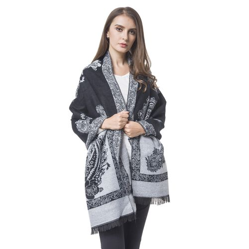 Designer Inspired-Black and White Colour Paisley and Floral Pattern Blanket Scarf with Tassels (Size 180x67 Cm)