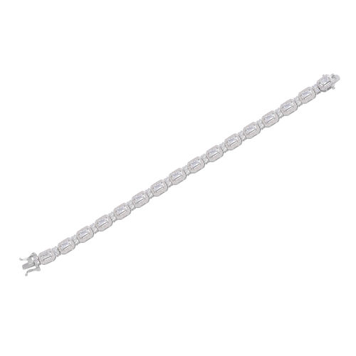 JCK Vegas Collection AAA Simulated Diamond (Sqr) Bracelet (Size 8) in Rhodium Plated Sterling Silver