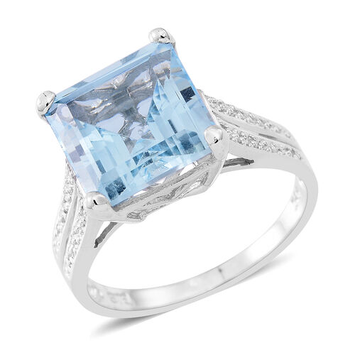 AAA Sky Blue Topaz (Sqr) Solitaire Ring in Rhodium Plated Sterling Silver 8.000 Ct.