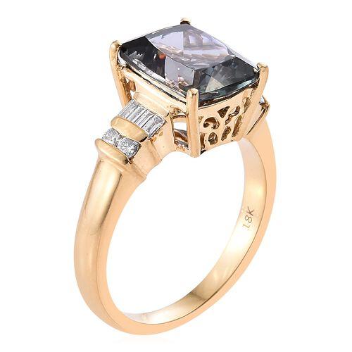 ILIANA 18K Y Gold AAA Peacock Tanzanite (Cush 4.05 Ct), Diamond (SI/G-H) Ring 4.250 Ct.