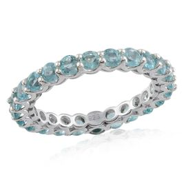 Paraibe Apatite (Rnd) Full Eternity Ring in Platinum Overlay Sterling Silver 2.750 Ct.