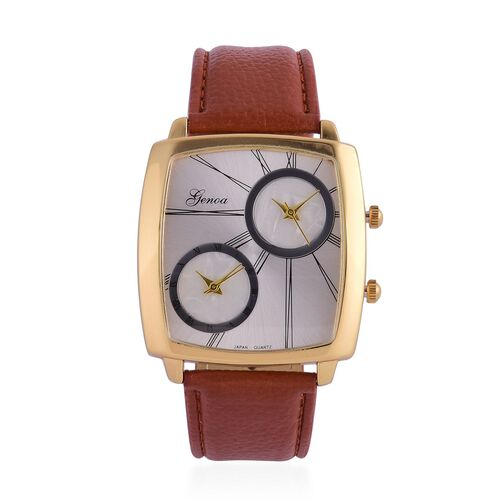 GENOA Japanese Movement Silver Dial Water Resistant Watch in Gold Tone with Stainless Steel Back and Brown Colour Strap
