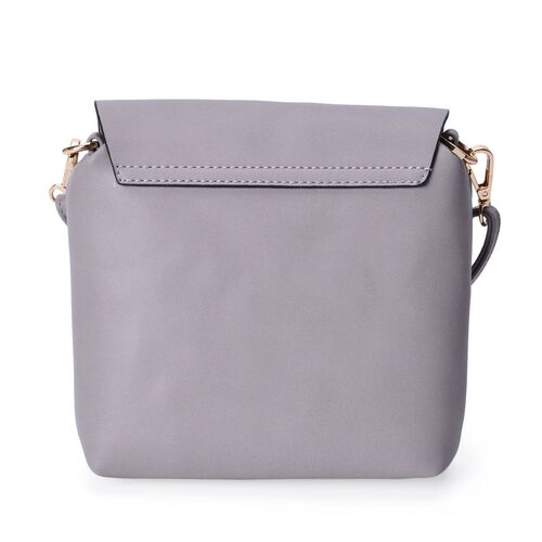 Grey Colour Crossbody Bag With Adjustable and Removable Shoulder Strap (Size 18x18x5 Cm)