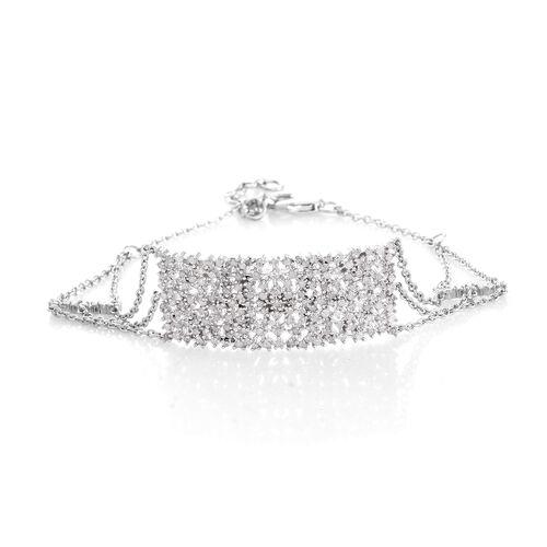 Designer Inspired Fireworks Diamond (Rnd) Bracelet (Size 7.5 with Half Inch Extender) in Platinum Overlay Sterling Silver 1.25 Ct.