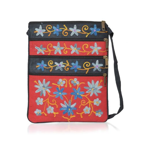Suede Fabric Multi Colour Flower Hand Embroidered Red and Grey Colour Satchel with External Zipper Pocket (Size 9.5x8 inch)