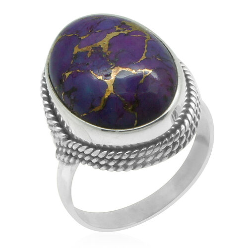 Royal Bali Collection Mojave Purple Turquoise (Ovl) Solitaire Ring in Sterling Silver 9.450 Ct.