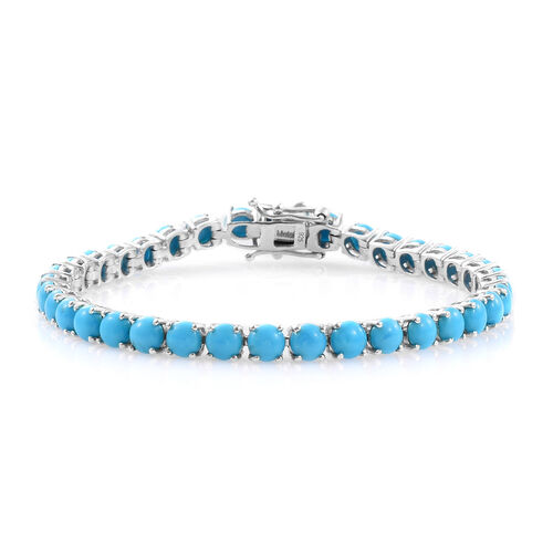 AAA Arizona Sleeping Beauty Turquoise (Rnd) Tennis Bracelet (Size 7.5) in Platinum Overlay Sterling Silver 14.250 Ct.