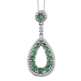AA Kagem Zambian Emerald (Rnd), Natural Cambodian Zircon Drop Pendant with Chain in Platinum Overlay Sterling Silver 1.500 Ct.