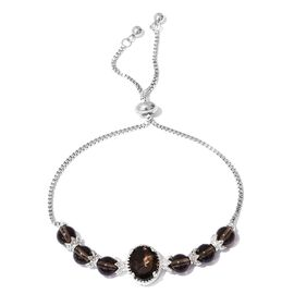 One Time Close Out Deal-Brazilian Smoky Quartz (Ovl) Adjustable Bracelet (Size 6.5 to 8) Platinum Plated 12.250 Ct.