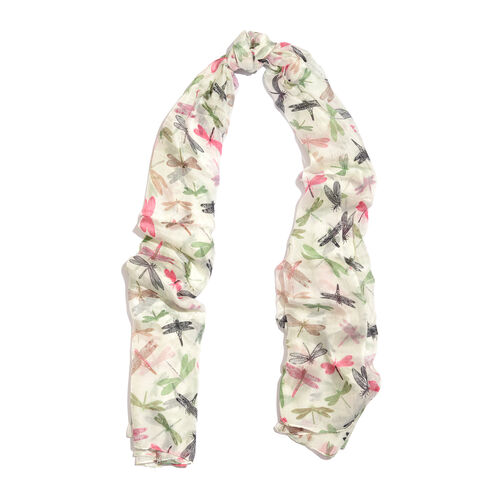 100% Mulberry Silk Off White, Green and Multi Colour Dragonfly Printed Scarf (Size 180x100 Cm)