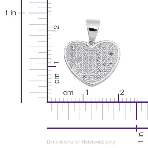 ELANZA AAA Simulated Diamond (Rnd) Heart Pendant and Stud Earrings (with Push Back) in Rhodium Plated Sterling Silver